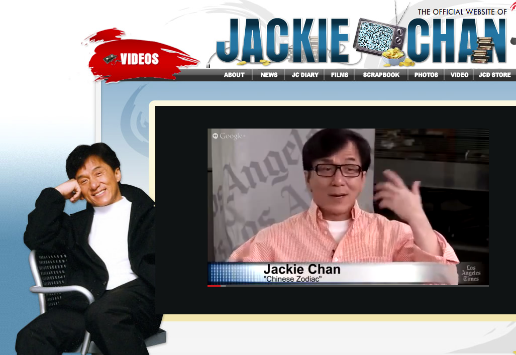 LA Times interview with Jackie Chan - Screenshot courtesy Jackie Chan website