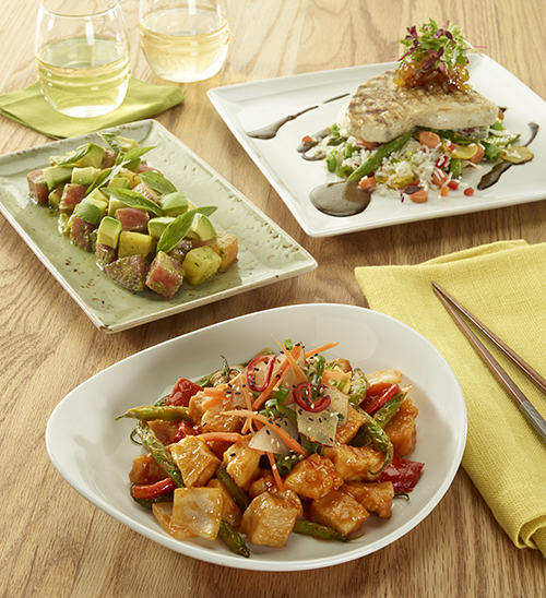 AC - PF CHANGS L-R Tomato  Basil Salad Grilled Swordfish Korean BBQ Chicken Stir-Fry