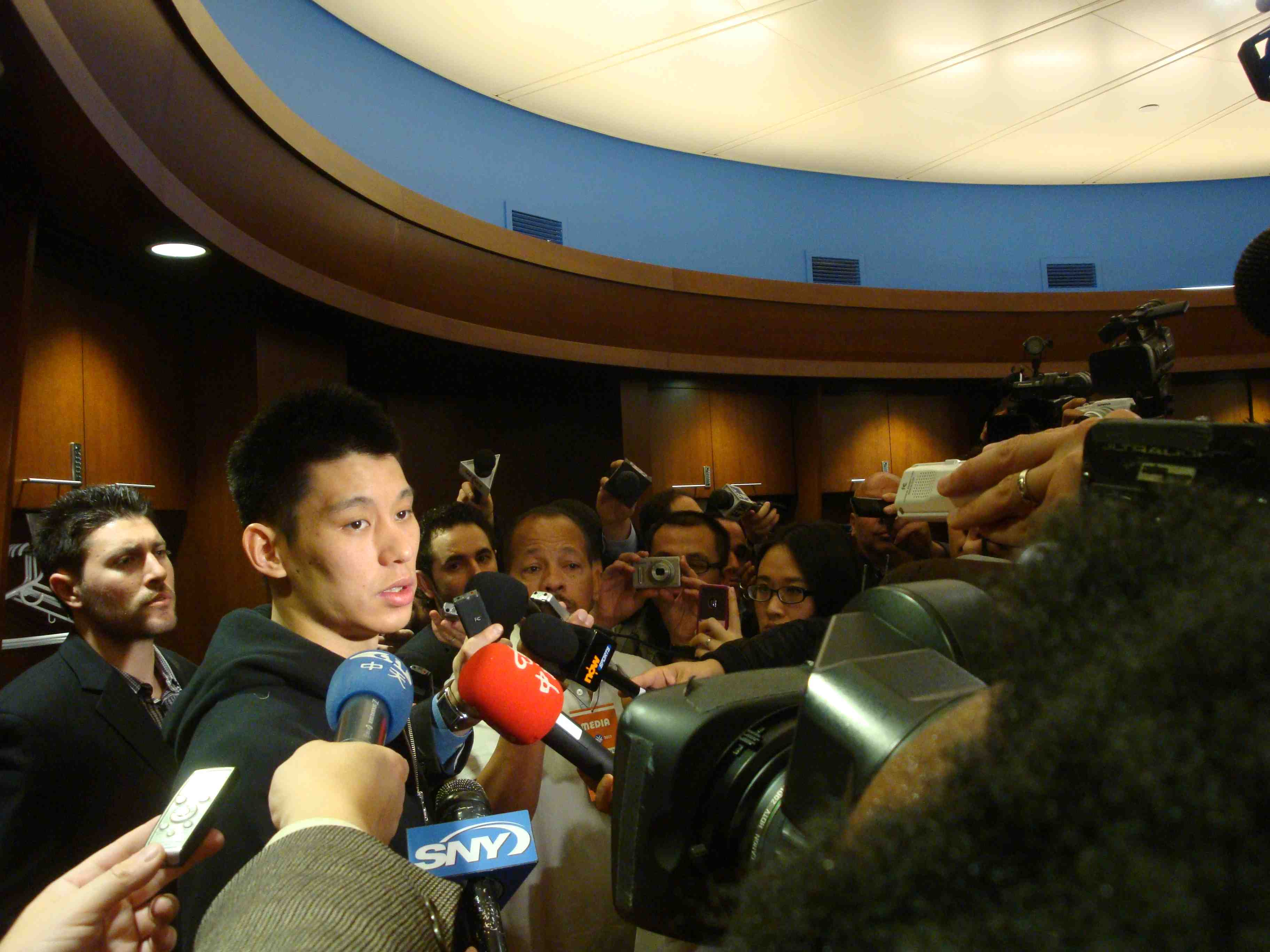 Go See Linsanity the documentary  Photo: Jeremy Lin in the Knicks locker room at Madison Square Garden March 11, 2012 Photo by Suzanne Joe Kai for AsianConnections.com