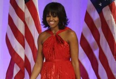 First Lady Michelle Obama wears Jason Wu's gown to the Ball