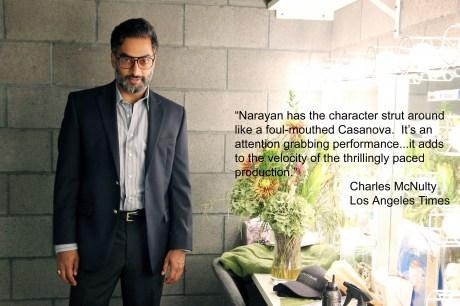 Manu Narayan stars as Richard Roa in Glengarry Glen Ross at the Sheila and Hughes Potiker Theatre Photo by Lia Chang