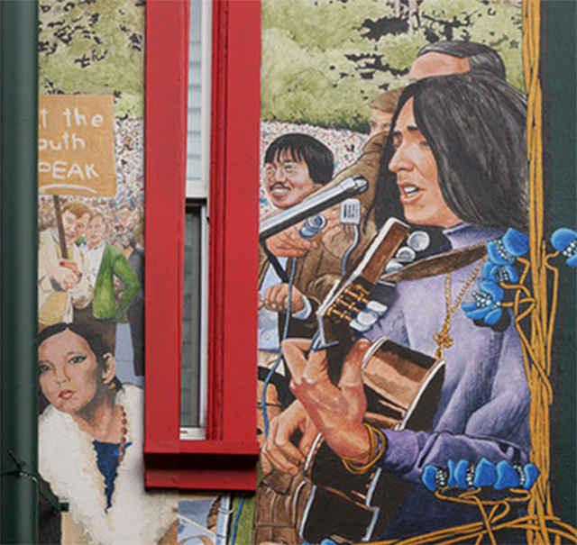 (L to R) Portion of Haight-Ashbury Mural in San Francisco by artist Bill Weber of Margarita 'Rita' Chan, Ben Fong-Torres, Joan Baez